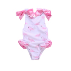 Wholesale Pink Bow Flamingo One Piece Summer Swimsuit Baby Girls Swimwear Kids Swim Suit