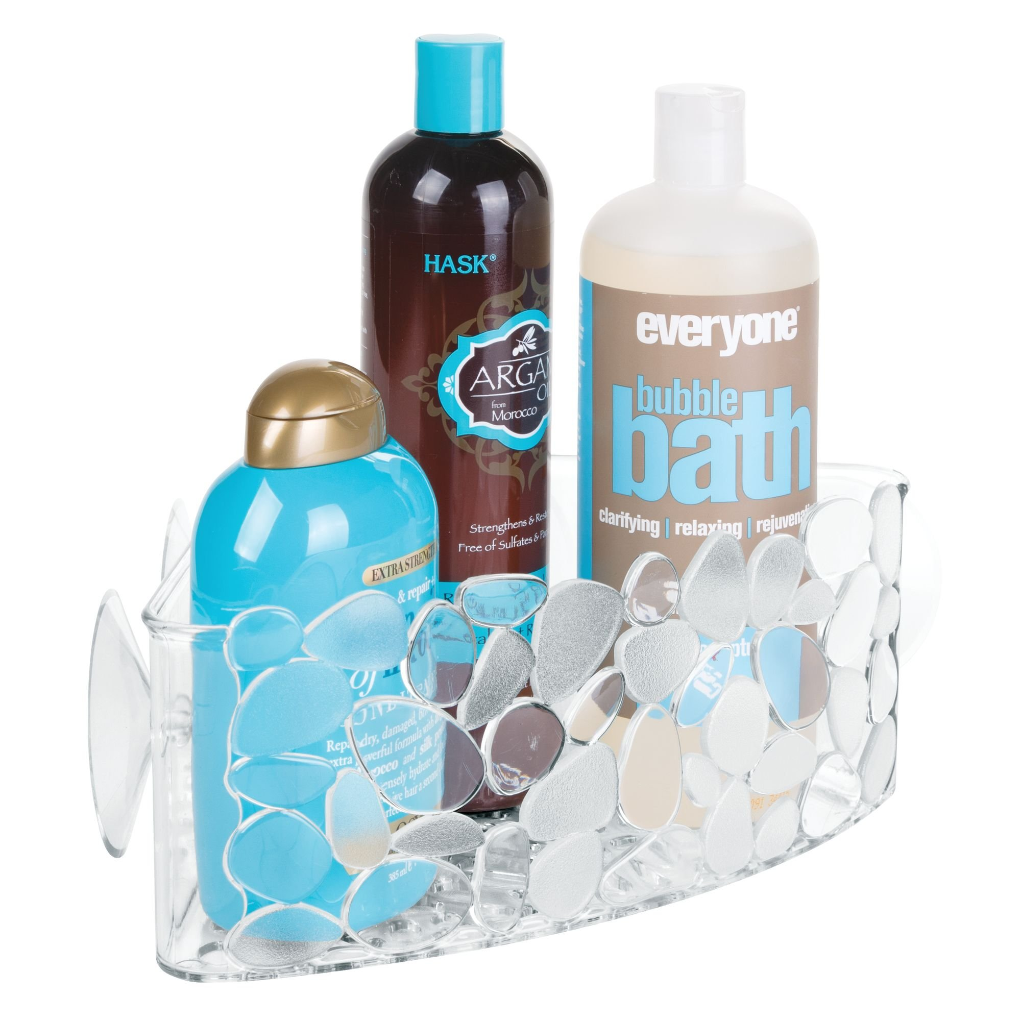 mDesign Suction Bath and Shower Corner Caddy with Pebble Design for Bathroom Shower - Clear