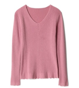 Fashion new style v-neck custom women knitwear sweater