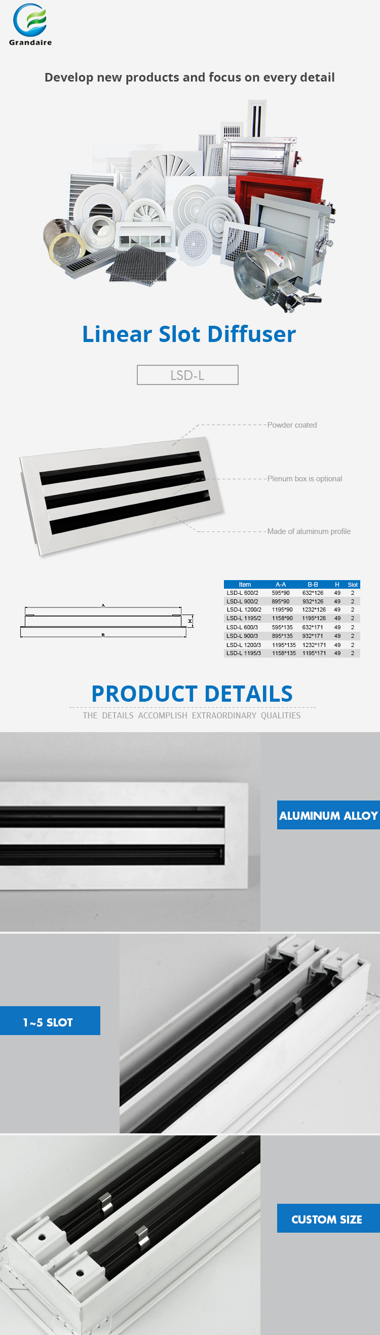 Air Conditioning Linear Slot Air Diffuser with Removable Core For Commercial Building
