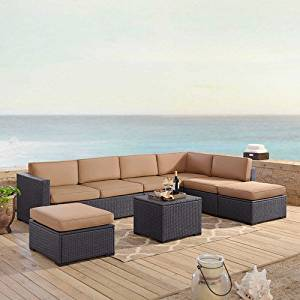 Crosley Furniture KO70114BR-MO Biscayne 6-Piece Outdoor Wicker Seating Set, Brown with Mocha Cushions