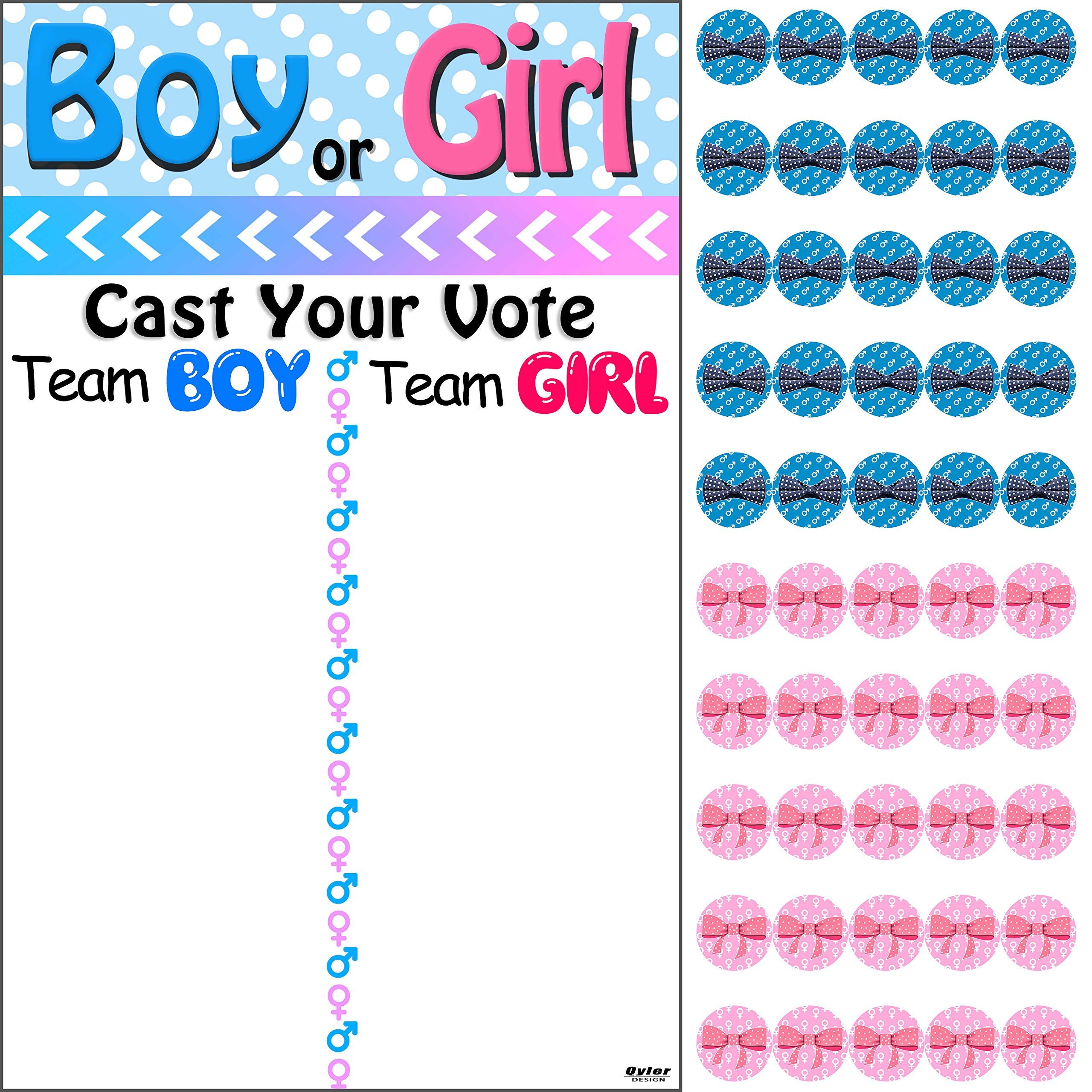Qyler Baby Shower Gender Reveal Voting Board Team Voting Board with Pink & Blue Stickers