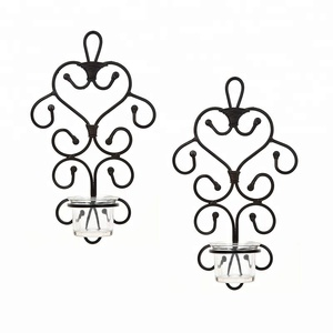 Set of 2 Wall Tea Light Plaque Sconce Candle Holder For Bridal