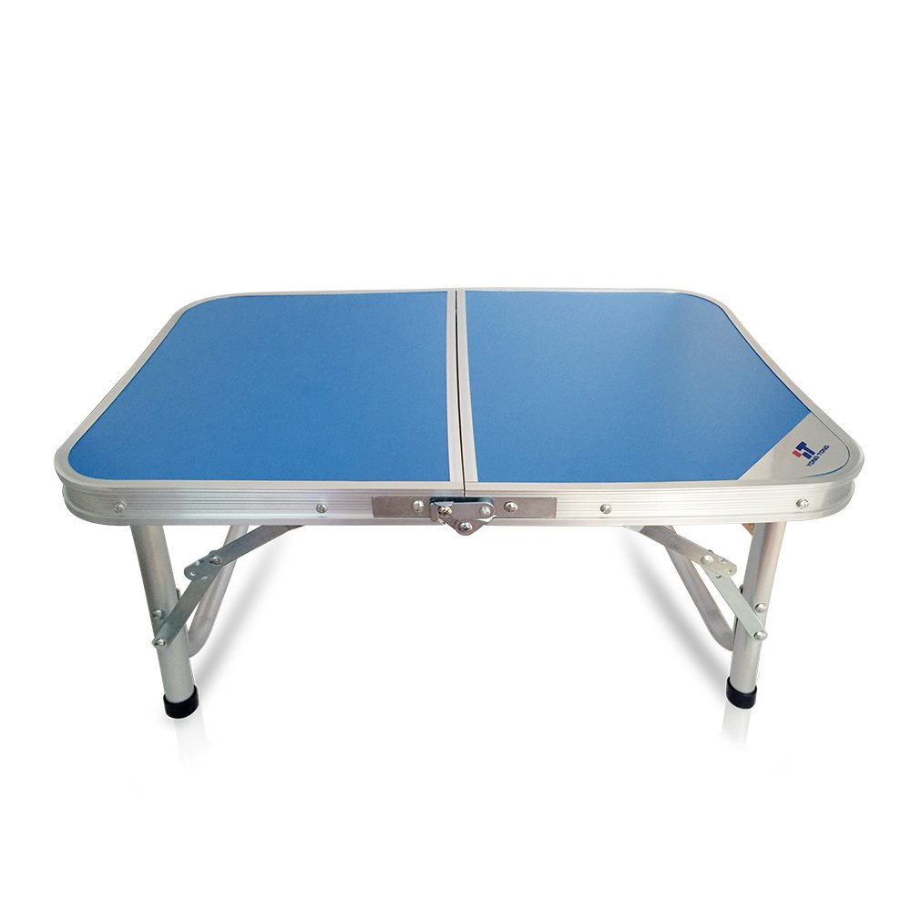 Yongtong Aluminum Folding Camping Table, with Carrying Handle, Portable and Height Adjustable Legs, Multi Purpose for Indoor Outdoor, Party, Picnic, Dining, Beach, Backyards, BBQ (Blue)