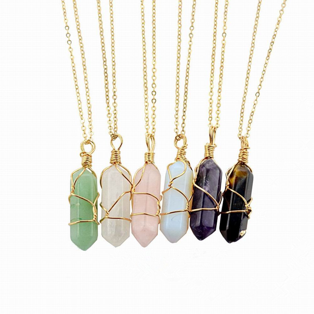 KINGREE natural stone hexagonal pendant, stranded pendant (6pcs color)