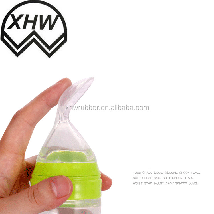2017 New Design Baby Product Silicone Baby Bottle / Gerber Baby Food Silicone Baby Spoon / Baby Feeding Bottle