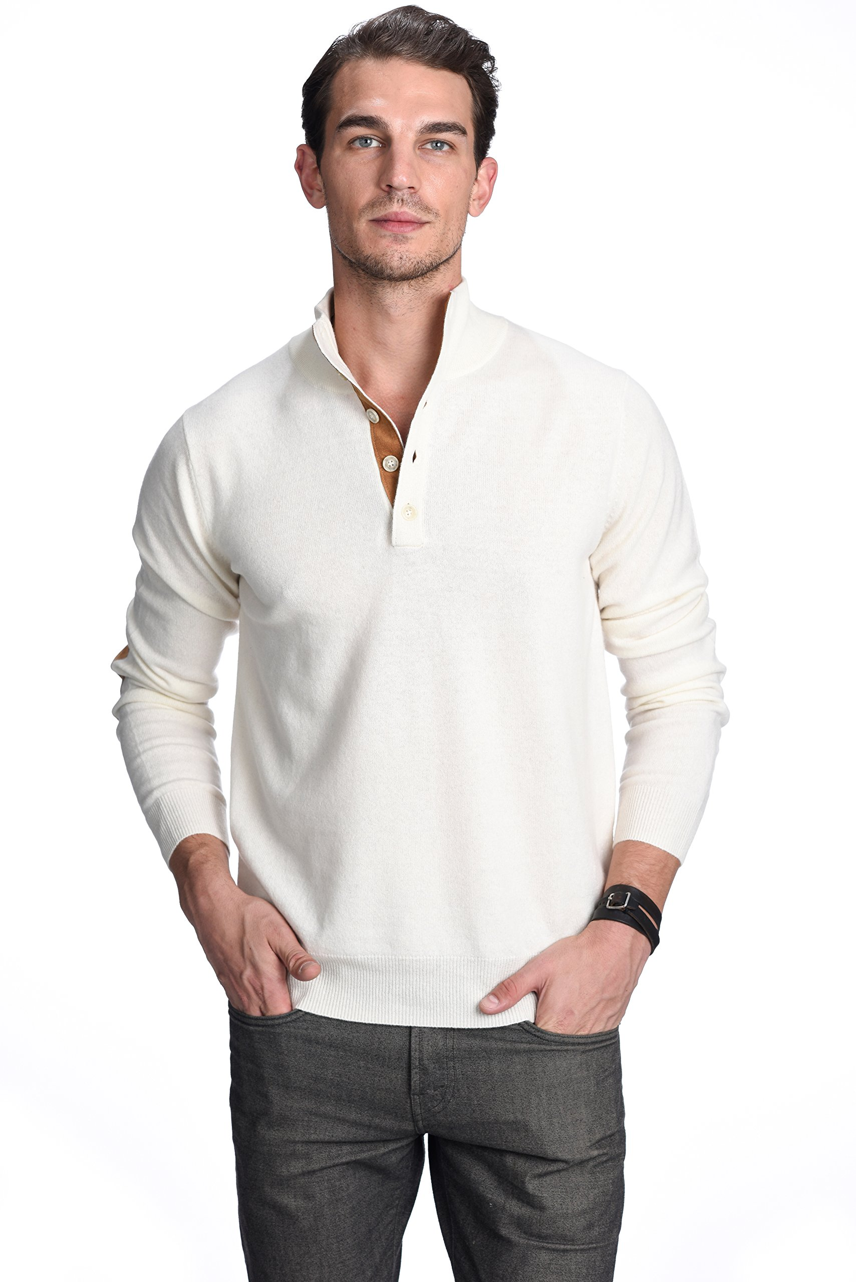 d2d01ae3a92 Get Quotations · State Cashmere Men s 100% Pure Cashmere Button Mock-Neck  Polo Collar Sweater Pullover