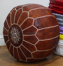 Moroccan pouf Ottoman pouf 100% natural leather, handmade, decorative handcrafted Morocco, stool, moroccan pouf