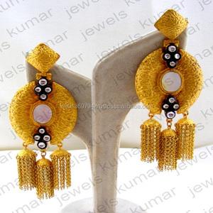 951de6e641910 Long Mughal Style Designer Cocktail Party Wear Fashion Stone Kundan Jhumka  Tassel Earrings