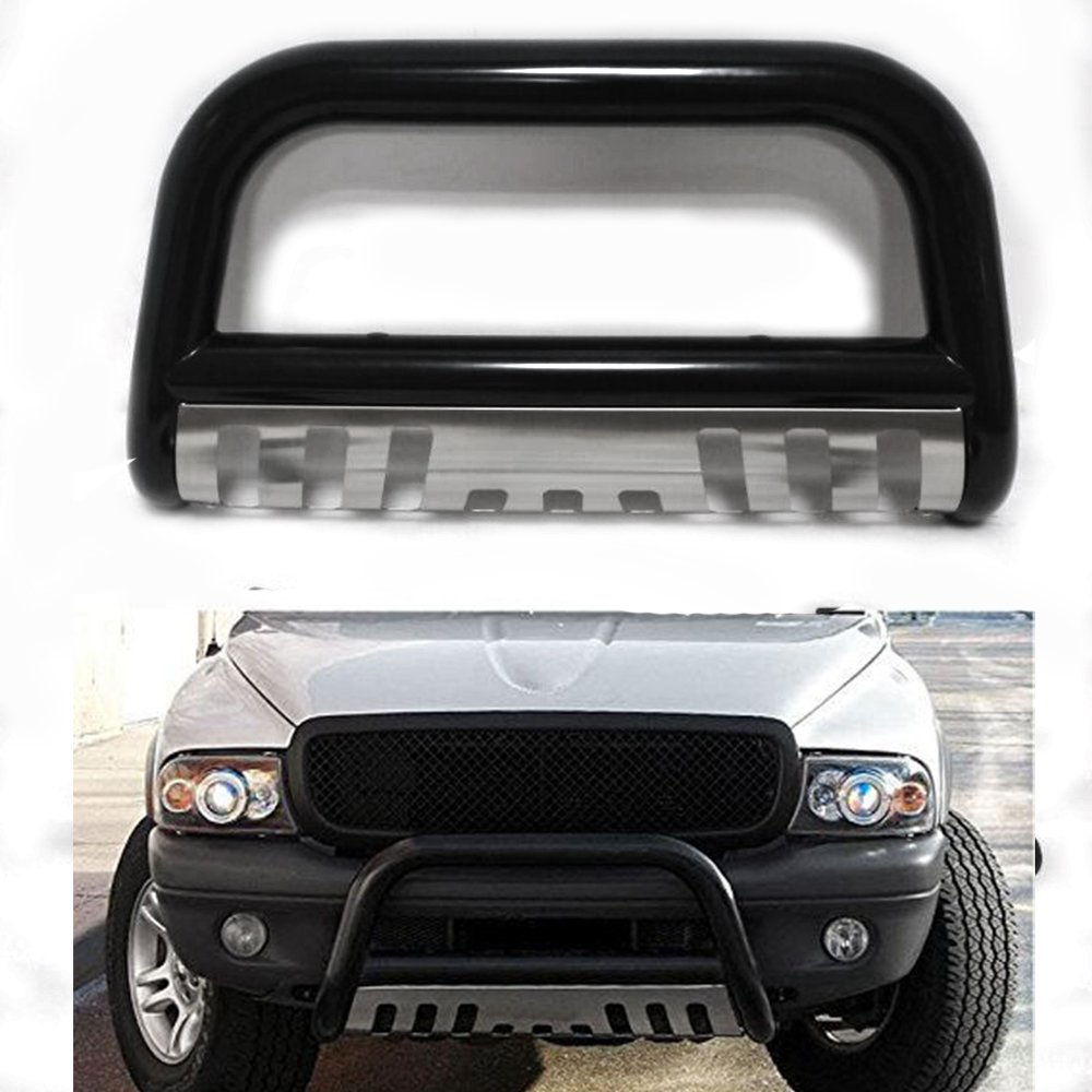 4X4TAG Premium Quality Black Powder Coated Steel Bull Bar Fits Ford F150 2004-2018 Bumper Grille Guard with Skid Plate and Optional Light Holes