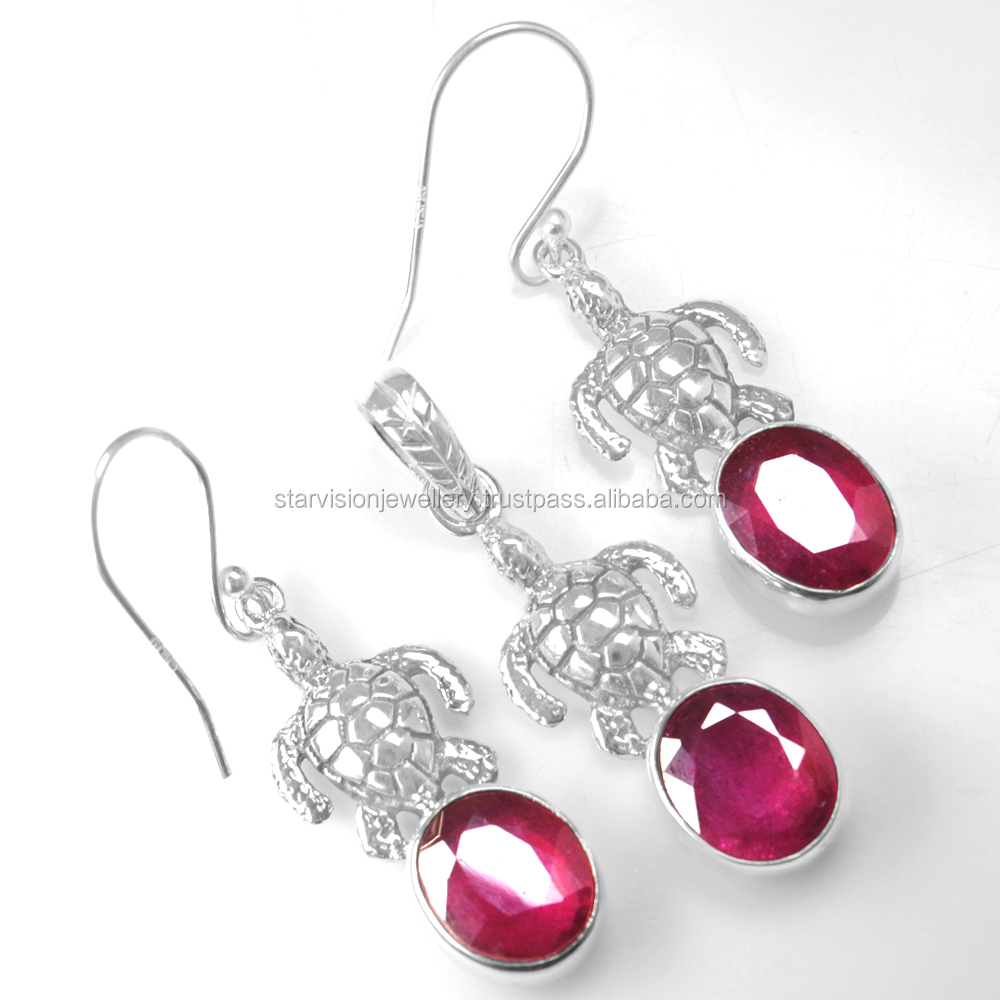925 Sterling Silver Jewelry Red Ruby Ladies Womens Girls Earrings pendant set