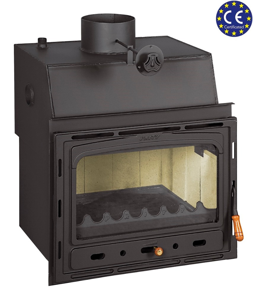 wood burning fireplace insert for installation with water jacket