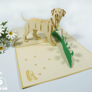 3d Birthday card handmade laser cutting cream dog pop up card kirigami greeting card wholesale manufacture