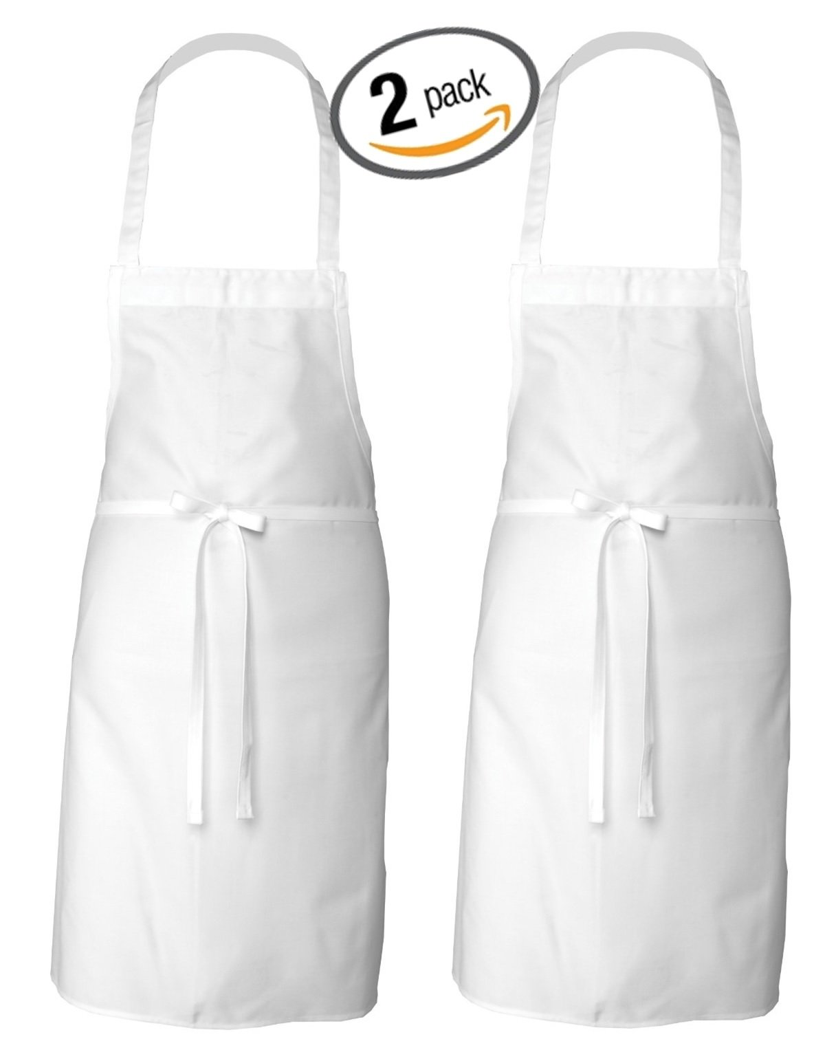 Elaine Karen Adult Men's Women's Unisex Chefs Bistro Adjustable Extra Long Ties, professional Commercial Grade White Bib Apron-2PK