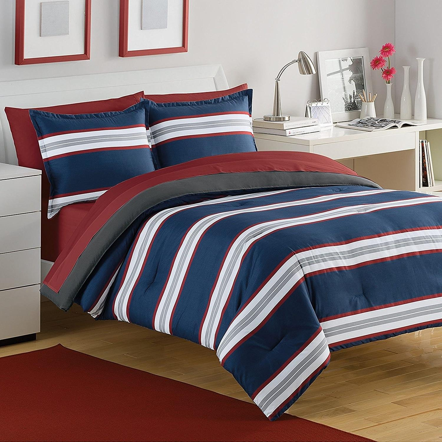 3pc Navy Blue White Grey Red Rugby Stripes Comforter Full Queen Set, Horizontal Striped Bedding Sports Themed Colors Nautical Cabana Stripe Line Pattern, Polyester