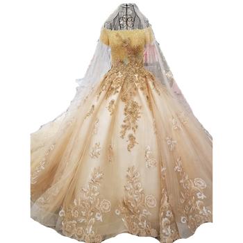 Neue Ankunft 2018 Russische Goldene Hochzeit Kleider Vintage Muster Sparkly Hohe Qualität Spitze Stickerei Mit Gefrieste Schwanz Buy Goldene