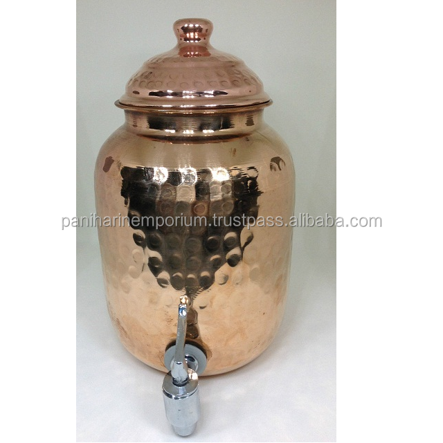 Antique Solid Hammered Copper container Storage Kitchen Water Pot Matka Tank