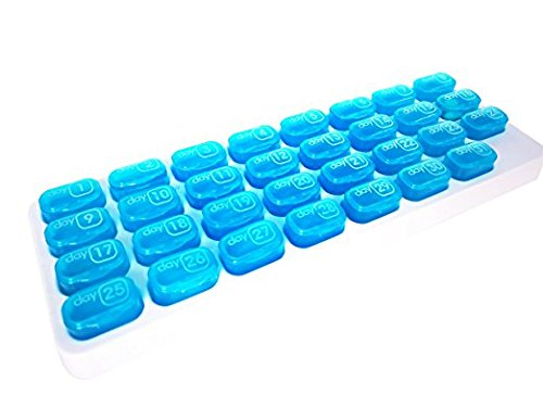 PuTwo Pill Organizer Monthly, Pop Out Large Pill case with 31 Individual Compartments, 4 Week Pill box for Vitamin, Fish Oil, Supplement- Blue