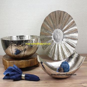 Hammered Decorative Bowl Silver Fruit Bowls Aluminum Large