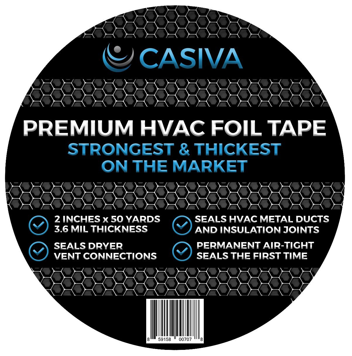"""Professional HVAC Tape & Premium Aluminum Foil Tape - Strongest & Thickest - 3.6mil Thickness, 50 Yards, 2"""" Width - For Duct Insulation & Metal Sealant"""