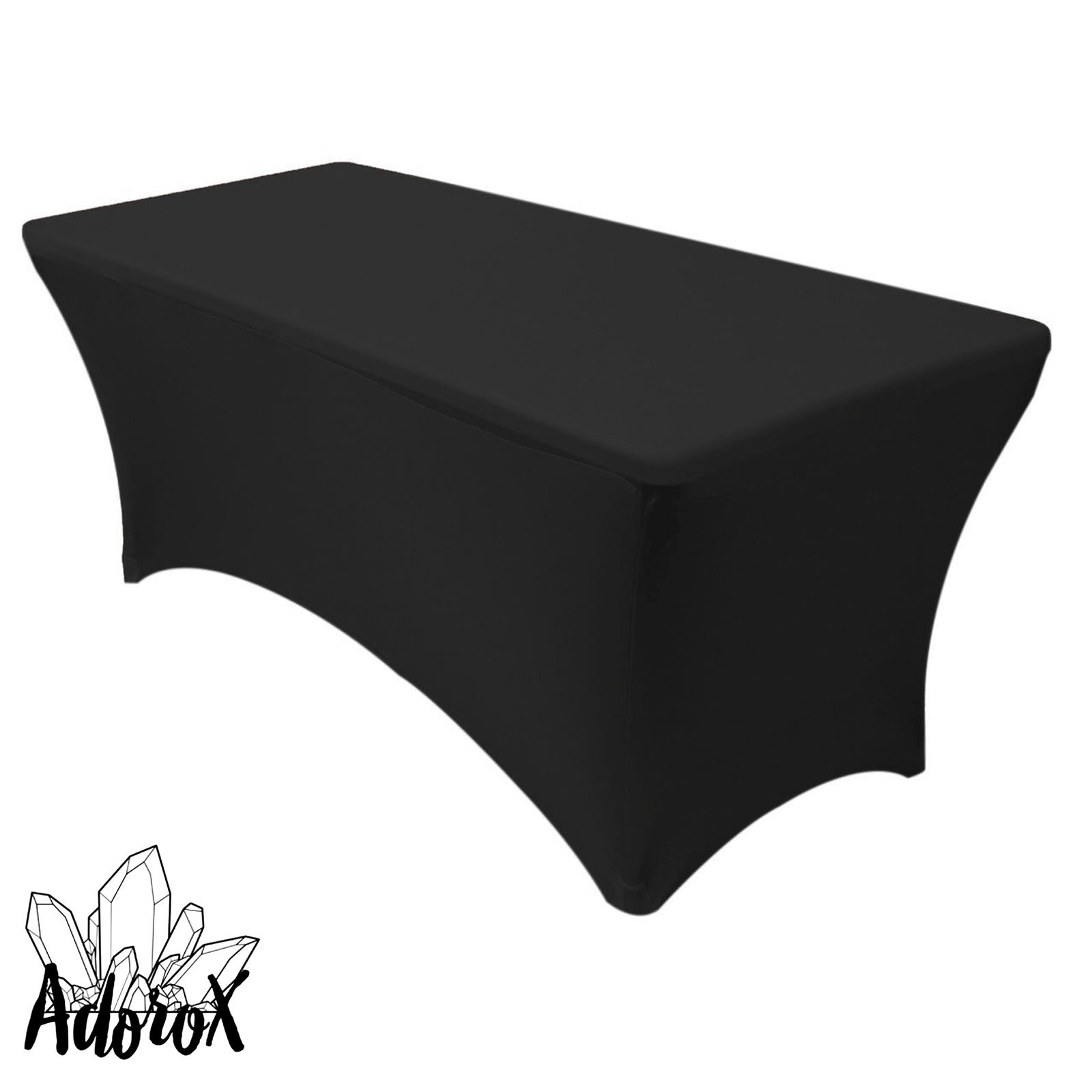 Adorox (2 Pcs 4 ft Black) Stretch Fabric Spandex Tight Fit Table Cloth Cover