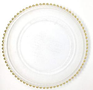 Spectacular Glass Dinnerware Formal 13-Inch Gold Beaded Rim Clear Glass Charger Plate Wedding Party Dinner Modern Appeal Plates