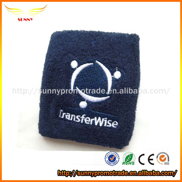 Customized Embroidered Logo cotton Sport Wrist sweatband from China