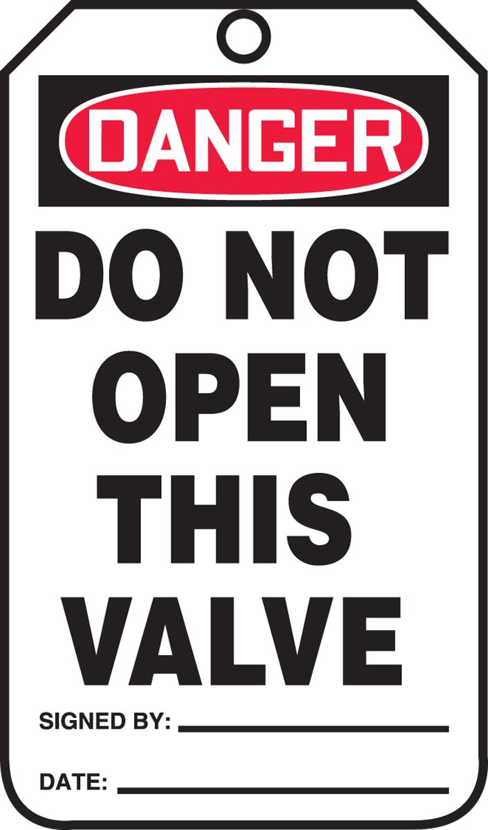 """Accuform MDT188CTM PF-Cardstock Safety Tag, Legend """"DANGER DO NOT OPEN THIS VALVE"""", 5.75"""" Length x 3.25"""" Width x 0.010"""" Thickness, Red/Black on White (Pack of 5)"""