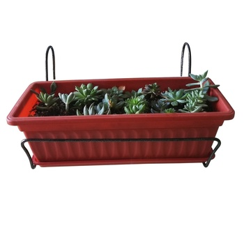 metal flower box holder, hanging pot plant holder, Trough holder for use on balconies fences railings
