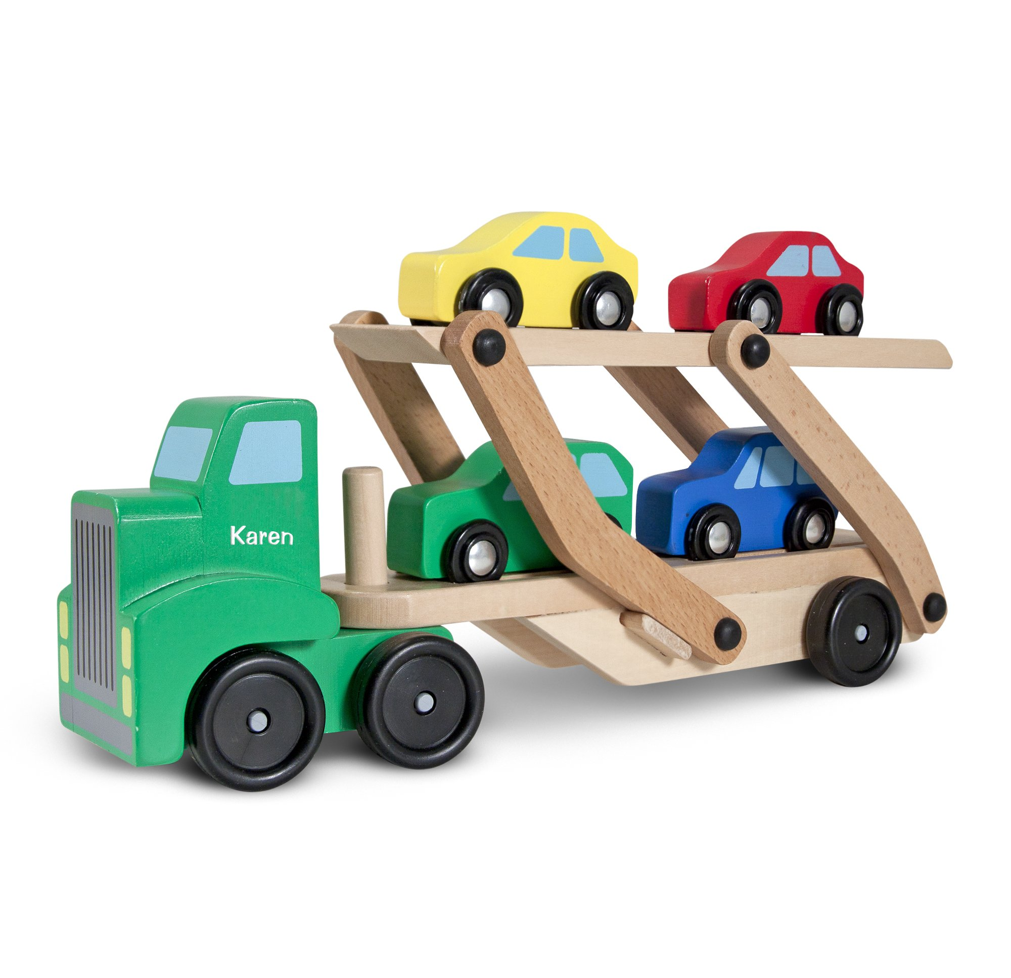 Melissa & Doug Personalized Car Carrier Wooden Toy Set with 1 Truck & 4 Cars Vehicle
