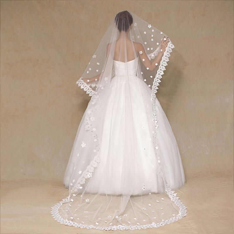 f34679f463 2017 accesorios de la boda 3 m largo blanco velos de novia con cuentas de  una