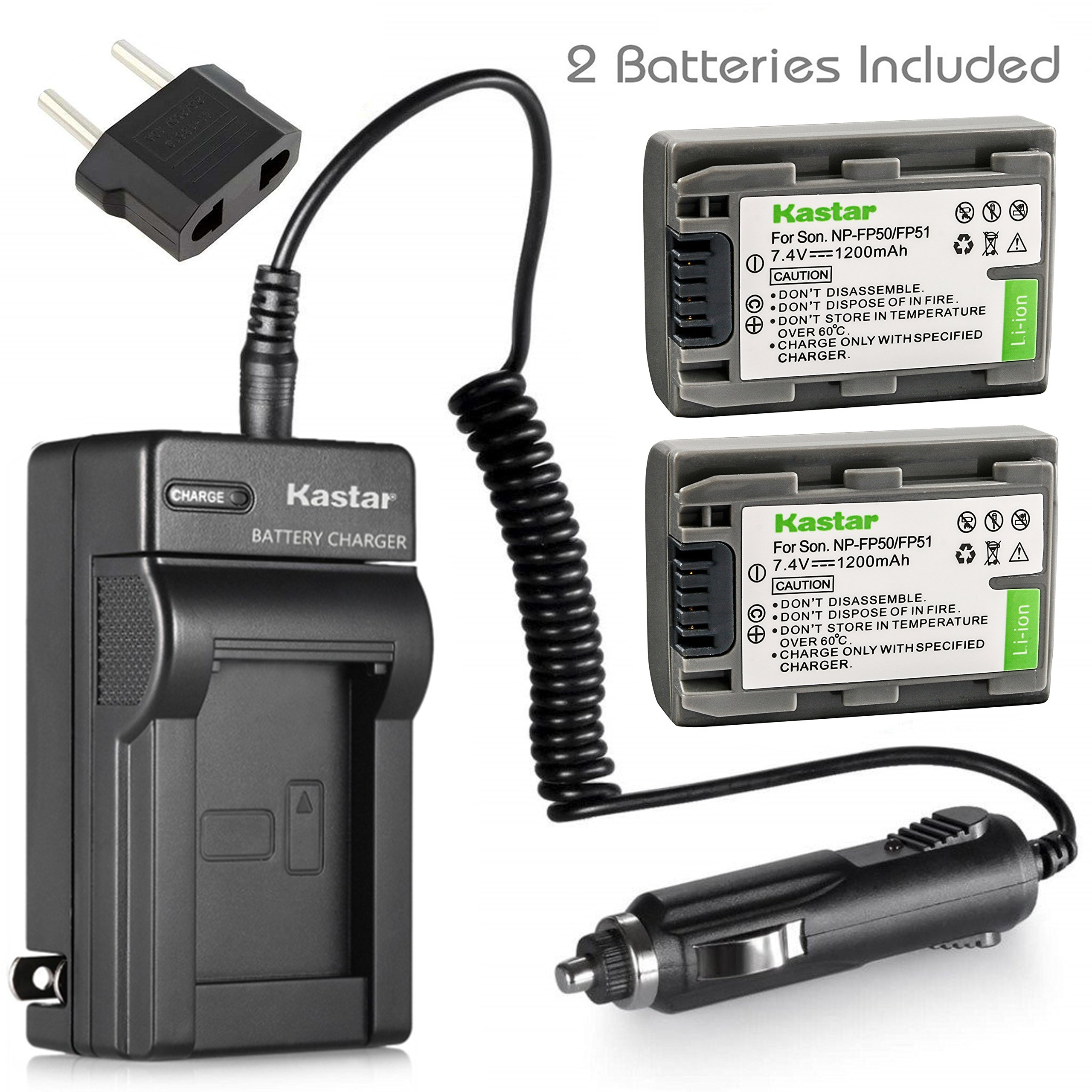 Kastar Battery (2-Pack) + Charger Kit for Sony NP-FP51, NP-FP50, NP-FP30, NP-FP70, NP-FP60, NP-FP71, TRV, TRV-U & Sony DCR-HC30 40 43E 65 85 94E 96 DCR-SR30 40E 50E 60E 70E 80E 100 Camera