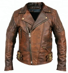 2018 New Arrival Classic Diamond Motorcycle Biker Jacket Brown Distressed Vintage real Leather Jacket