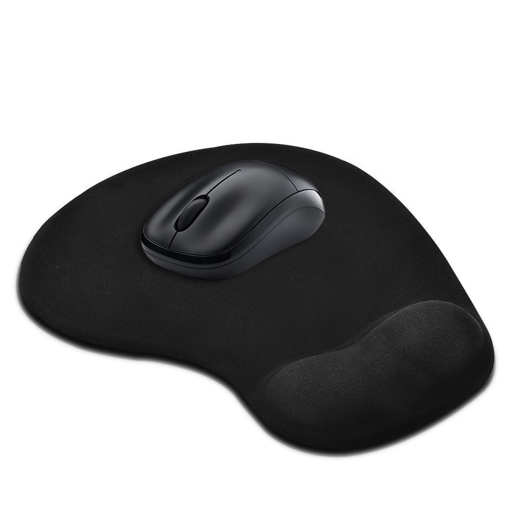 Ergonomic Gaming Office Silicone Gel Mouse Pad with Wrist Support - Non-slip Rubber Base- Black