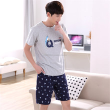 men cotton short pajamas summer cotton pajamas Male& lady outside /Pajama Sets from Women's Clothing/short sleeved cotton r suit