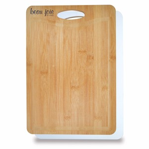 Bamboo Plastic Cutting Board - bamboo side for carving meat, plastic side for slicing poultry and fish and comes with your logo