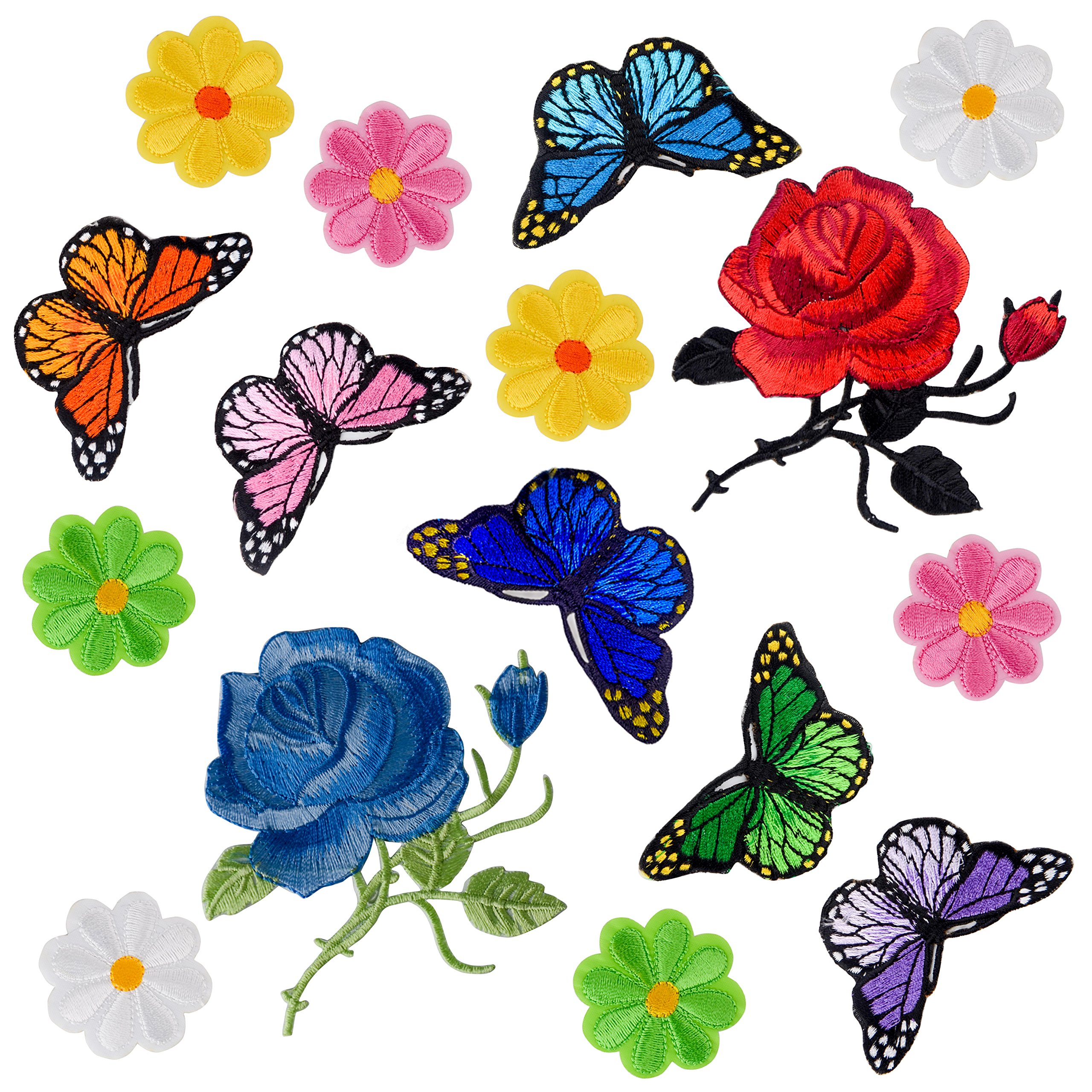 14 Pieces Embroidery Rose Flower Butterfly Iron on Applique Patches Sew on Butterfly Patch Rose Applique Patches for Jacket Jeans Clothes Hats Shoes Bags
