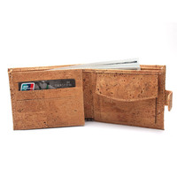 Natural cork men cork wallet vegan wallet handmade casual wooden wallet from Portugal BAG-199