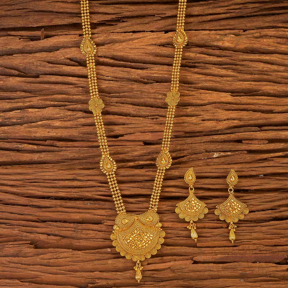 Antique Long Necklace With Gold Plated Jewelry 17603 Gold