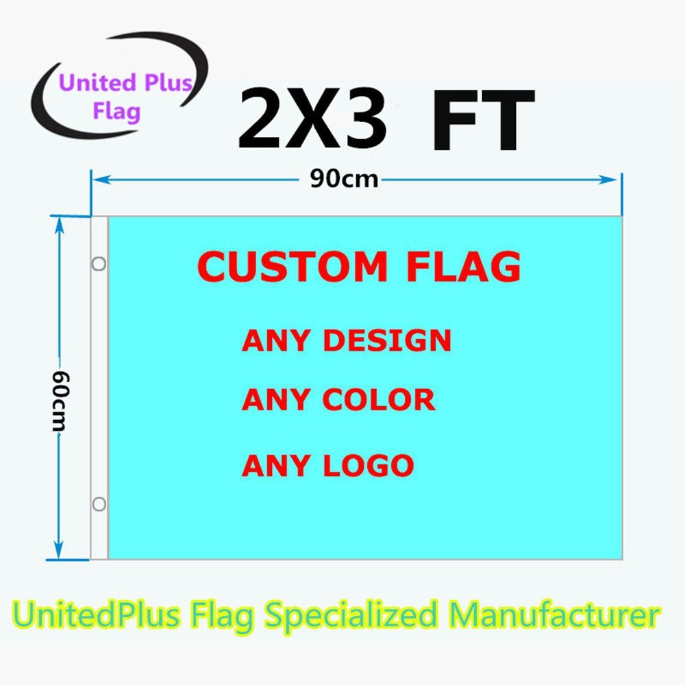 Unitedplus 2x3 Foot custom flag-100D Polyester Polyester with Brass Grommets 2 X 3 Ft- Customize Flags And Banners For Sport Outdoor Banner custom flag- Advertising Banner (2X3 FT)
