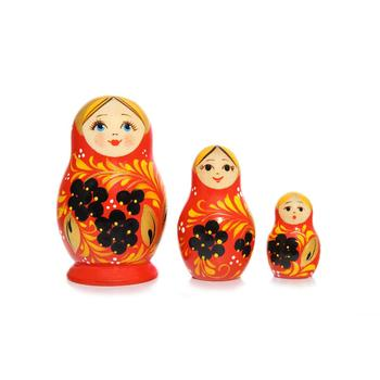 Russian Three piece Vyatskaya Matryoshka Uzor, C-4 (107)