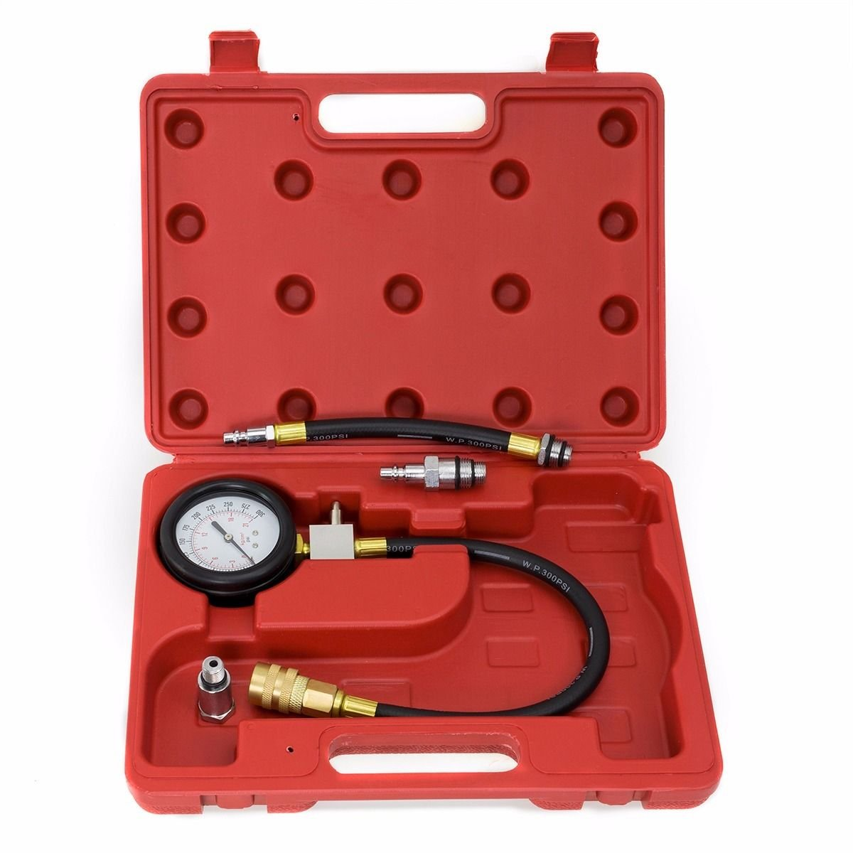New Flex hose drive Gas Engine Compression Tester Gauge Kit Automotive Tools