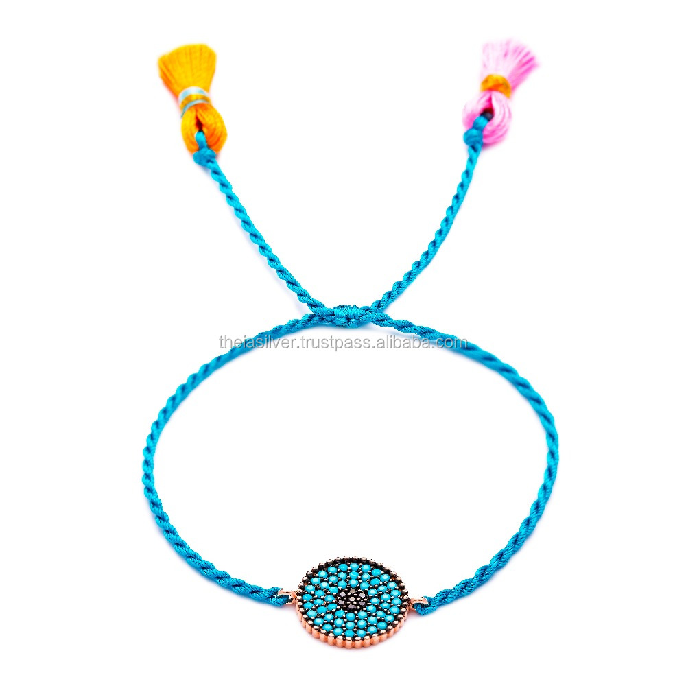 Turkish Jewelry Silver Adjustable Micro Turquoise Colorful Turkish Wholesale Silver Knitting Bracelet