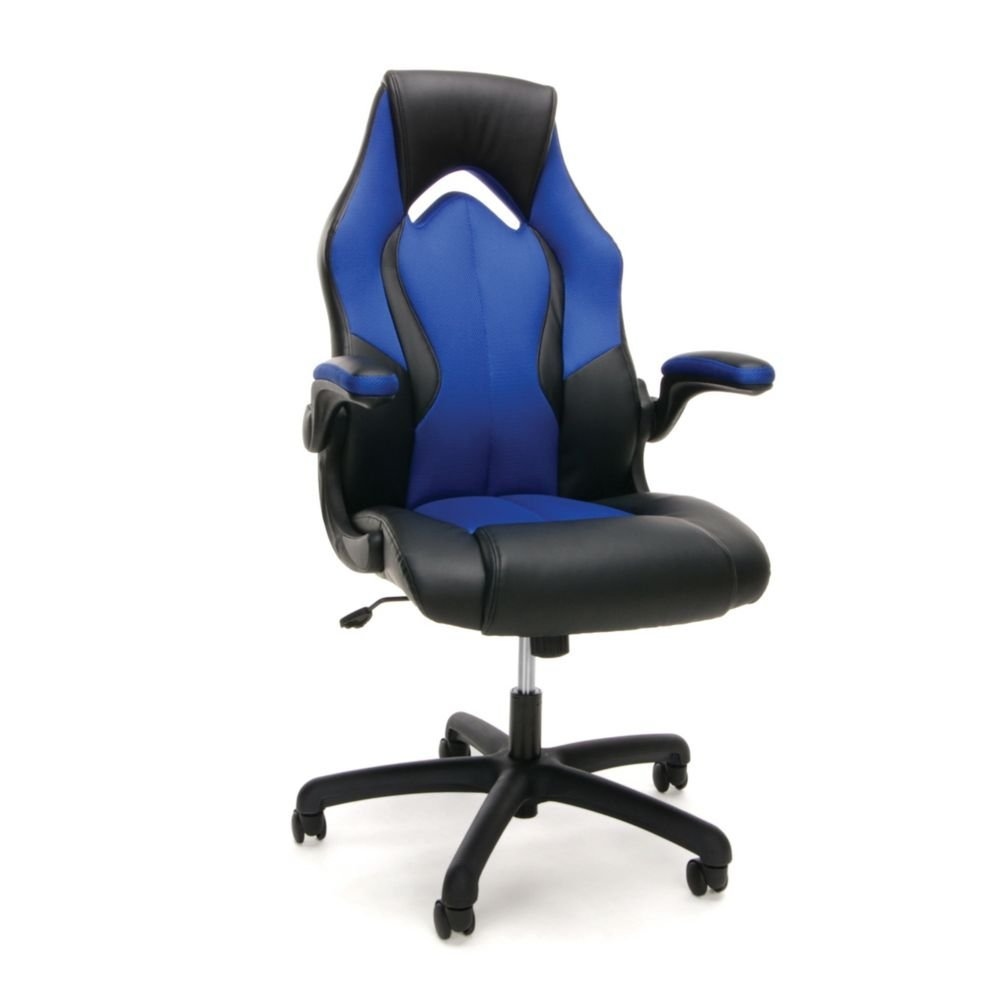 "Essentials High Back Gaming Chair in Faux Leather Dimensions: 28.125""W x 29.25""D x 44.50""H Seat Dimensions: 20""Wx18.875""Dx17-20.75""H Black Faux Leather/Blue Fabric/Black Base"