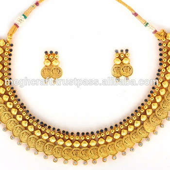 0b1d9461b85e9 Bollywood Women Gold Necklace-Laxmi Coin Jewellery-Ginni South Indian  Necklace, View indian gold necklace designs, ELEGANCE Product Details from  MEGH ...