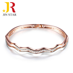 wholesale two color tone gold jewellery gemstone silver bangle