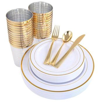 Gold Plastic Plates Disposable Dinnerware Set 25 pcs of  Dinner Plates, Tumblers , Forks,Knives, Spoons