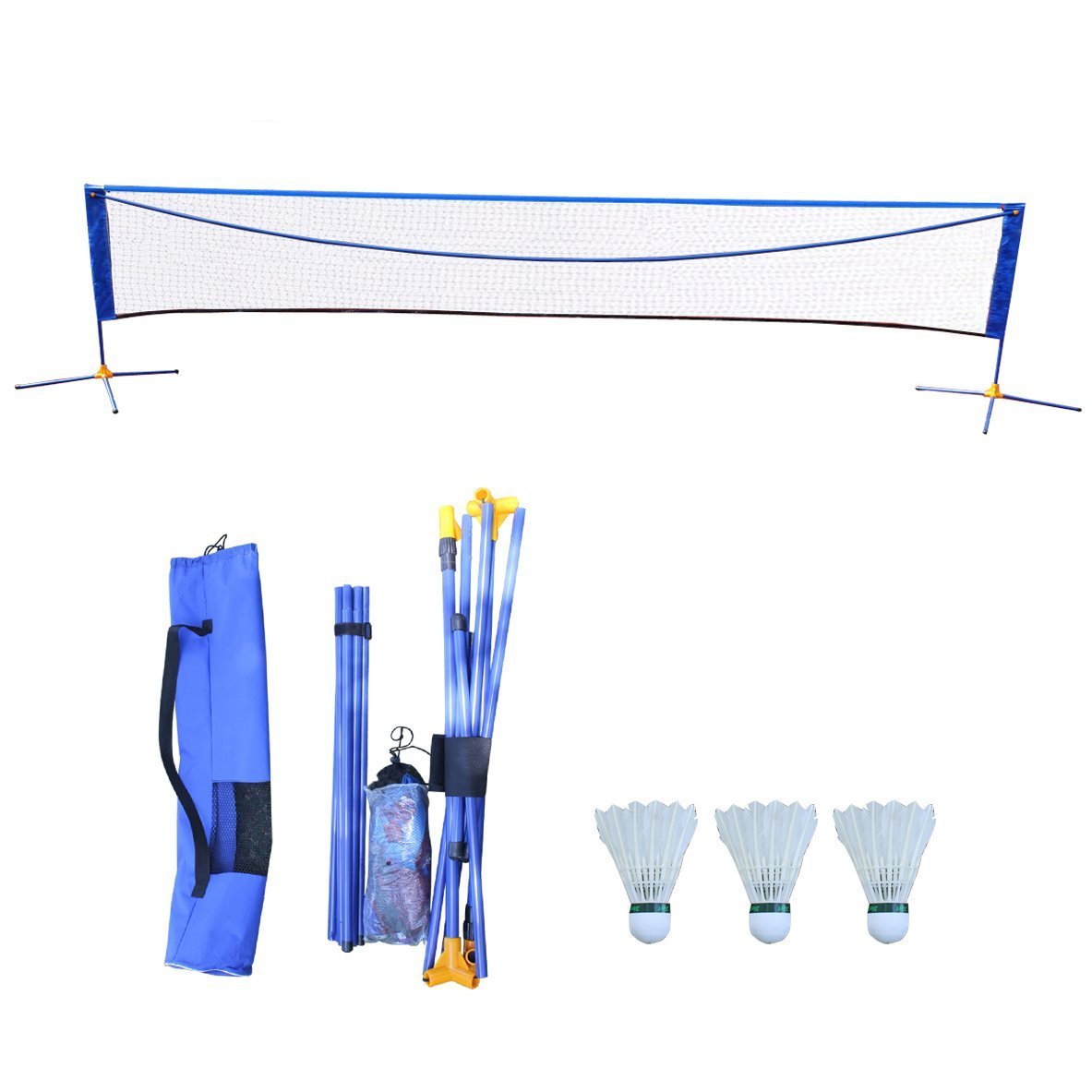 Hi Suyi Portable Height Adujstable Badminton Volleyball Tennis Net Set Equipment with Poles Stand and Carry Bag 3m /5m for Kids Adult Outdoor Sports