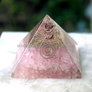 Orgone Pyramid Rose Quartz Gemstone Copper Layered With Clear Quartz Point Energy Orgone Pyramids: Spiritual Orgone Products