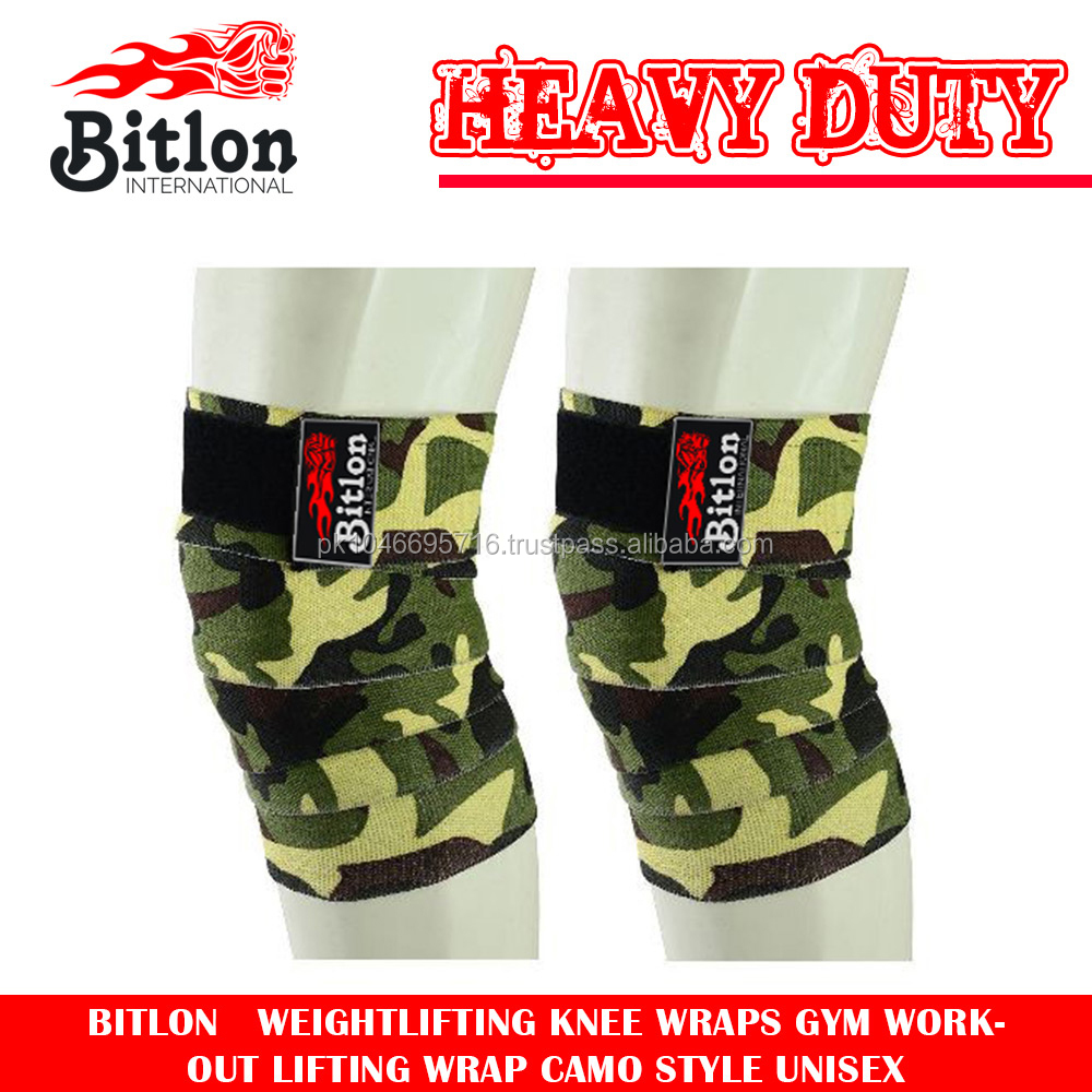 Bitlon Weightlifting Knee Wraps Gym Workout Lifting Wrap Camo Style Unisex  - Buy Weightllifting Knee Wraps Camo,Gym Knee Wraps In Camo,Fitness Knee